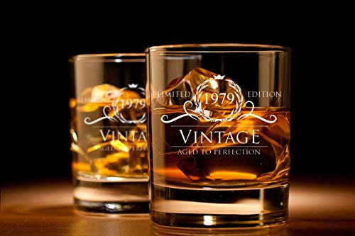 1979 Birthday Gifts for Women and Men Whiskey Glass - Funny Vintage Anniversary Gift Ideas for Him, Her, Dad, Mom, Husband or Wife. 11 oz Whisky Bourbon Scotch Glasses. Party Favors Decorations by Humor Us Home Goods (Image #2)