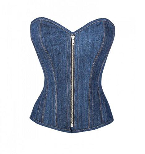 修羅場組み合わせ女王Blue Denim Zipper Goth Steampunk Bustier Waist Training Overbust Corset Costume