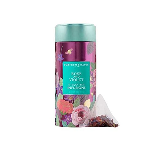 Fortnum & Mason British Tea, Rose & Violet Infusion Tin, 15 Silky Tea bags (1 Pack) NEW Product ID46SD - USA Stock