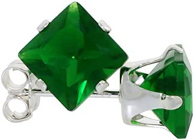 Sterling Silver Cubic Zirconia Square Emerald Earrings Studs 6 mm Princess cut Green color 2.5 carats/pair