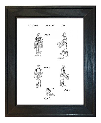 """Star Wars Bossk Patent Art White Matte Print in a Solid Pine Wood Frame (18"""" x 24"""")"""