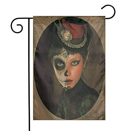 seedine Premium Garden Flag Weather Resistant Sugar Skull Antique Portrait Girl with Calavera Inspired Makeup and Topper Realistic Design 12.5 x 18 Inch Multicolor ()