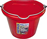 Fortiflex Flat Back Feed Bucket for Dogs/Cats and Small Animals, 8-Quart, Red