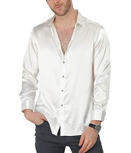 - VICALLED Men's Satin Luxury Dress Shirt Slim Fit Silk Casual Dance Party Long Sleeve Fitted Wrinkle Free Tuxedo Shirts White