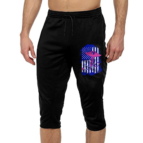 Nurse US Flag Love EMT Exercise Men's Vintage Casual Durable French Terry Lounge Pants by BigManPants