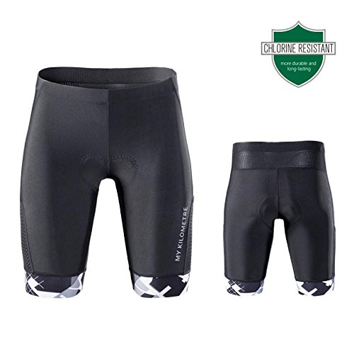 (My Kilometre Triathlon Men`s Shorts 9 inches Blue with Two pockets,Chamois for Long-distance Tri Race,Running short,swimsuit (black-white, medium))