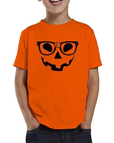 SpiritForged Apparel Pumpkin Face with Nerdy Glasses Toddler T-Shirt, Orange -