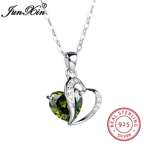 - New Heart Necklaces & Pendants for Women | Red Blue White Yellow Green Purple | Sterling Silver Jewelry (Peridot)