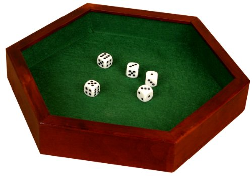 Da Vinci Wood Hexagonal 14.5 Inch Dice Tray with 5 Dice