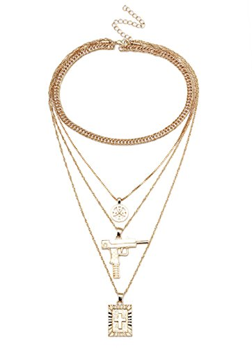 SUNSCSC Multilayer Choker Statement Bib Necklace for Women Girl Set Cross Long Chain Crystal Drop Pendant (Peace Gun Gold ()