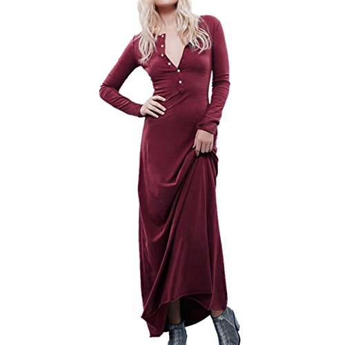 Ca Mode Women Summer Sheath T Shirt Straight Shift Maxi Button Down Shirt Dress Large Burgundy