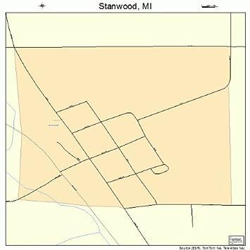 Stanwood Michigan Map.Amazon Com Large Street Road Map Of Stanwood Michigan Mi