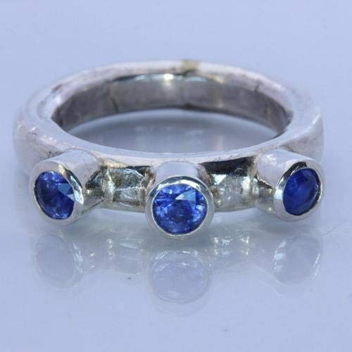 Sapphire Frog - Natural Blue Sapphire Handmade Sterling Silver Gents Frog Eye Style Ring size 9