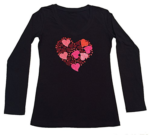 Women's T-Shirt with Hearts Collage in Rhinestones and Glitters (3X, Black Long Sleeve)