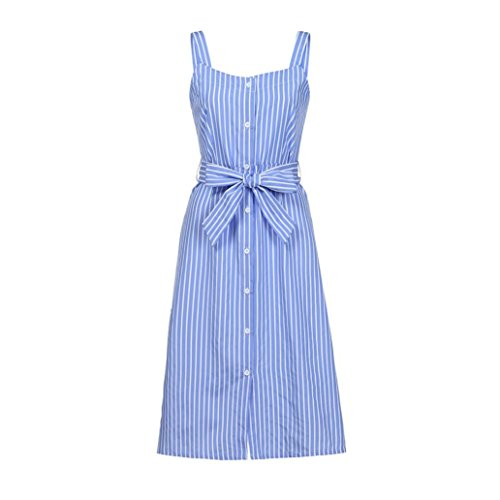 2019 New Women's Striped Dress, E-Scenery Summer Bandage Single-Breasted Casual Dresses (Blue, Small)
