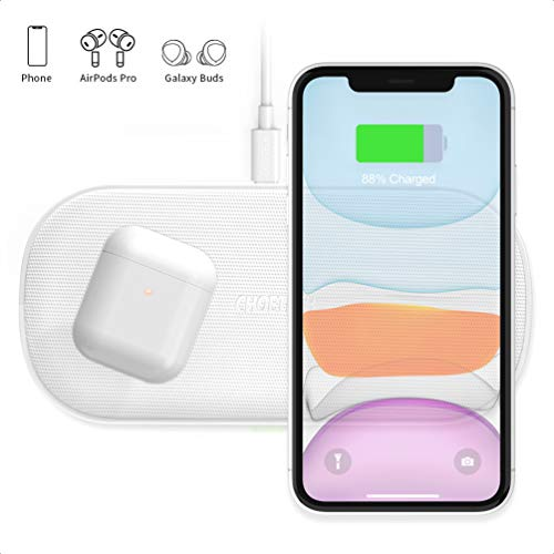 CHOETECH 7.5/10W Cargador Inalámbrico Doble, 5 Bobinas Fast Wireless Charger Qi para iPhone 12/12 Pro/12 Pro Max/11…