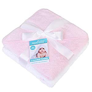 2 x Hooded Baby Towel Soft 100% Cotton Bath Wrap Pack of Two Towels, Pink & White