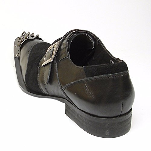 Black Fashion Spike Toe Black Trendy Shoes Fun Metal Mens Strap Monk Fiesso Leather wnHXFqn7