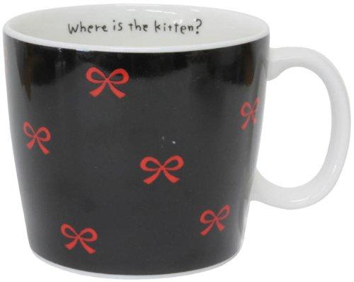 Black Cat Ceramic Mug Cup Red Ribbon Made in Japan W9cmxh7.8cm 310ml