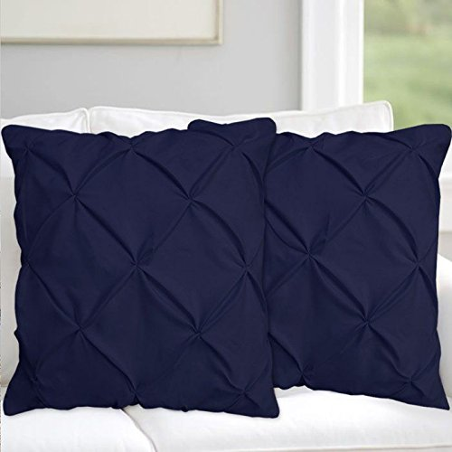 Precious Star Linen Pillow Sham Set of 2 Pinch Plated/Pintuck Pillow Cover Sham Solid Design 625 Thread Count Natural Cotton, Hypoallergenic (Navy Blue Solid, Super King (20'' x 36''))