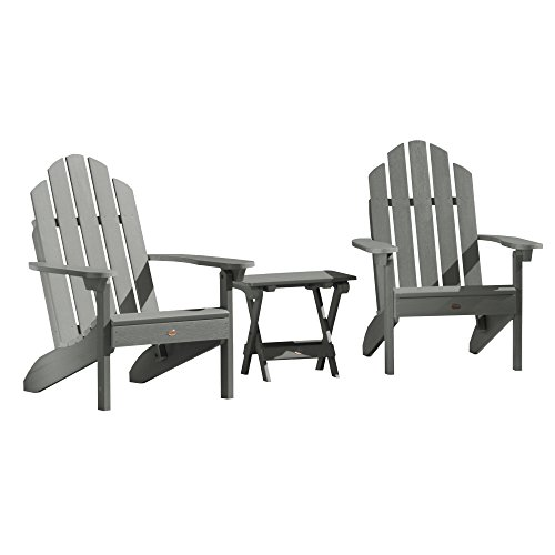 Highwood AD-KITCLAS2-CGE Adirondack Chairs with Side Table, Coastal (Teak Table And Chairs)