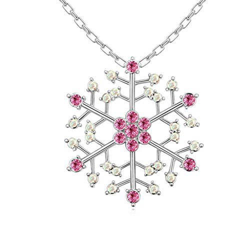 Daesar Gold Plated Women's Snowflake Necklace Rhinestone CZ Pendant Necklace for Women