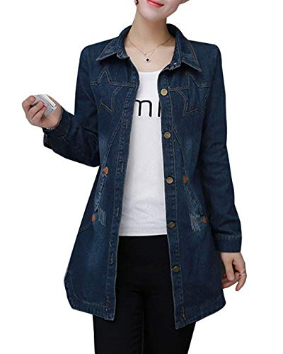 Donna Cappotto Autunno Accogliente Pingrog Elegante Decorato Digitale Lunga Casuale Giacche Single Blau Manica Outwear Con Transizione Tasche Jeans Di Bavero Breasted dqq8wEf