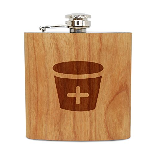 - WOODEN ACCESSORIES COMPANY Cherry Wood Flask With Stainless Steel Body - Laser Engraved Flask With Medical Pail Design - 6 Oz Wood Hip Flask Handmade In USA