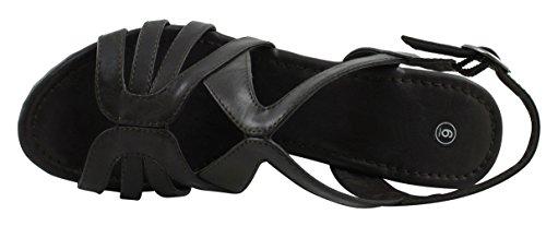 Cambridge Utvalda Womens Öppen Tå Ankel Strappy Slingback Utklipp Plattform Wedge Sandal Choklad