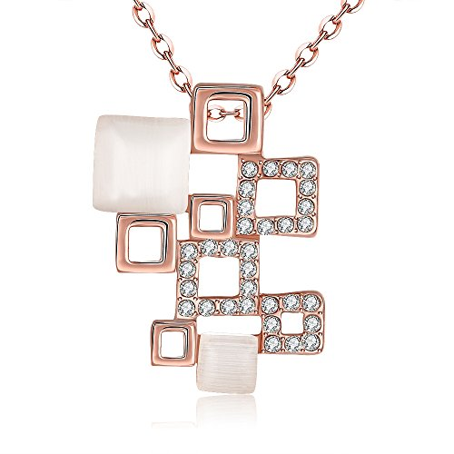 [SDLM Rose Gold Plated Square Filigree Alloy,Crystal,Opal Combination Bib Drop Necklaces] (Iconic Women In History Costumes)