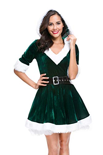Mrs. Claus Costume Christmas Role Play Outfits Hooded Dress for Women Green Medium -