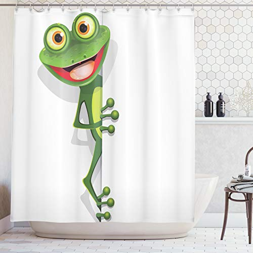 Ambesonne Cartoon Decor Collection, Jolly Frog with Greater Eye Lizard Gecko Smily Childish Funny Cartoon Artwork Print, Polyester Fabric Bathroom Shower Curtain Set with Hooks, Green Red -