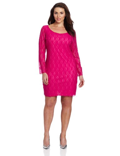 Star Vixen Women's Plus-Size 3/4 Sleeve V-Back Lace Sheath Dress, Fuchsia, 3X ()