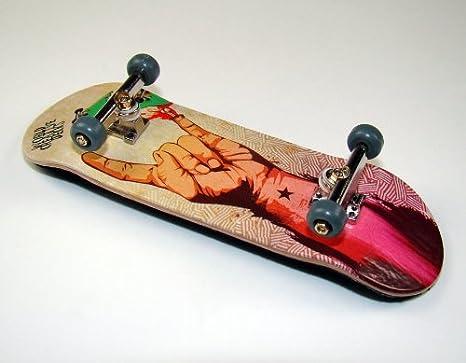Assi Argento Final di Rotazione pu Wheels Grigio von freefingers/® Hand Made Wood Finger Board Completo Finger Skateboard World di Creative # 3/ Hang Loose Deck