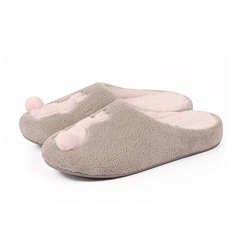 En automne et en hiver, pantoufles maison, femmes, coton, doux, confortable, semelle épaisse, anti-dérapant , gray , 40/41