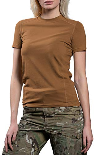 281Z Womens Military Stretch Cotton Underwear T-Shirt - Tactical Hiking Outdoor - Punisher Combat Line (Coyote Brown, X-Small)