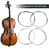 Cello Strings,Copper Nickel Zinc Alloy 3/4 4/4 Cello Strings Set Replacement Part Accessory.