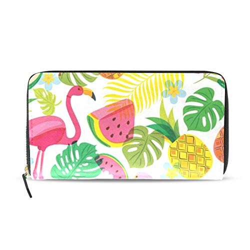 Womens Wallets Flamingo Palm Leaf Watermelon Pineapple Leather Passport Wallet Coin Purse Girls Handbags