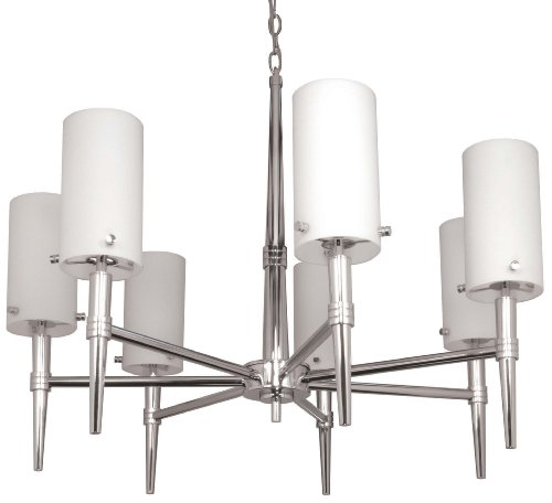 Tier Chandelier Frosted 1 Glass - Nuvo Lighting 60/3866 Jet 7-Light Chandelier with Frosted Glass, Polished Chrome