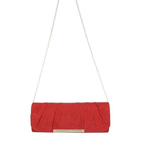 Ital-Design - Cartera de mano con asa para mujer Rojo