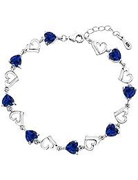 "EleQueen 925 Sterling Silver CZ Love Heart of Ocean Titanic Inspired Tennis Bracelet, 7.1""+1.2"" Extender"