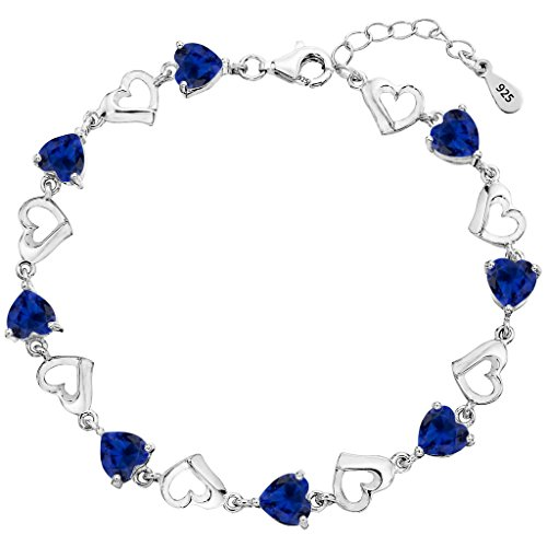 EleQueen 925 Sterling Silver CZ Love Heart of Ocean Titanic Inspired Tennis Bracelet, 7.1
