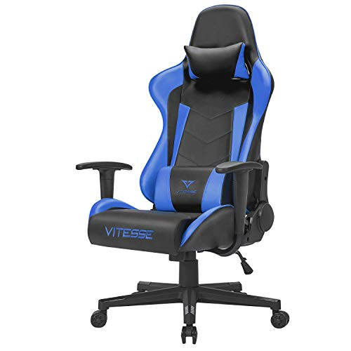Vitesse Gaming Computer Desk Chair Ergonomic Office Adjustable Height High-Back Cool PC Chair Swivel with Headrest and Lumbar Support Blue