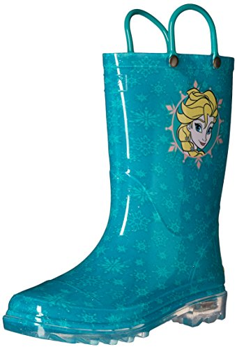 Western Chief Girls' Waterproof Rain Boots That Light up with Each Step, Frozen Elsa and 9 M US Toddler