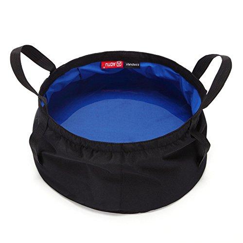 (Outdoor Survival Folding Washbasin, YiMiky 8.5L Watertight Durable Camping Hiking Foldable Fishing Auto Trip Activities Wash Bag Basin Equipment Travel Kits Portable Lightweight(Blue))