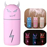 Atomizer Air Purifier Mist Spray Mini Air Humidifier,MeiLiio 190ML Large Capacity Magic Cow Style Lightweight USB Air Purifier with Colorful LED Light Aroma Diffuser for Yoga Spa Office Car (Pink)