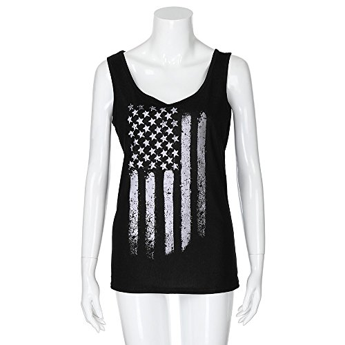 Women's American Flag Print Loose Casual Flowy SleevelessTank Tops Black