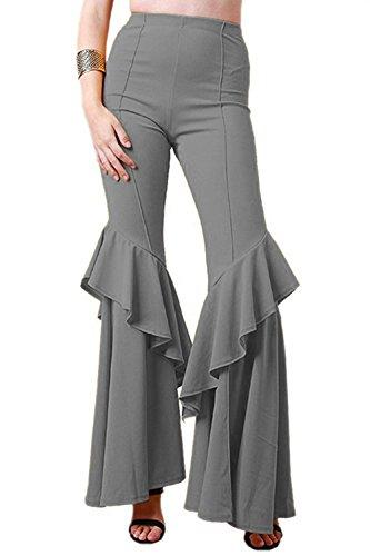 - COCOLEGGINGS Ladies Ruffle Crepe Tier Flare Cut Bell Bottoms Pants Grey 2XL