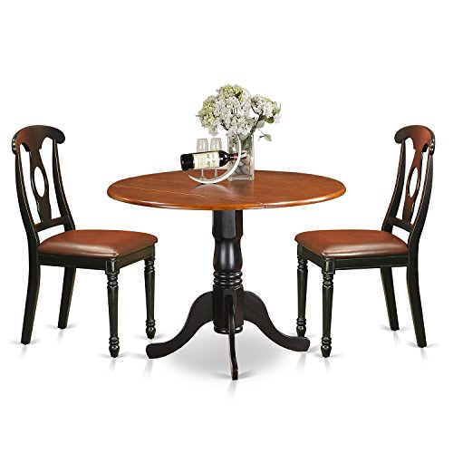 East West Furniture DLKE3-BCH-LC 3 Piece Dining Table and 2 Kitchen Chairs Dublin (Drop Leaf Pedestal)