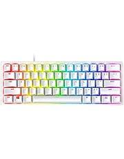 Razer Huntsman Mini Clicky Optical Switches(Purple), 60% Gaming Keyboard, Chroma RGB Lighting, PBT Keycaps, Onboard Memory - Mercury White